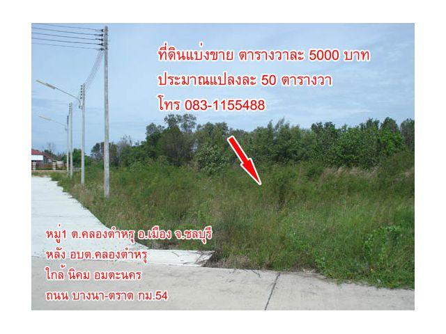 ที่ดินแบ่งขาย ถนนบางนา-ตราด กม.54 ใกล้นิคม อมตะนคร, โลตัส, พลัสมอลล์