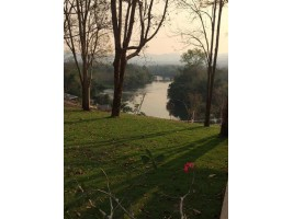 ขายที่ดินวิวสวยมาก ติดแม่น้ำแควน้อย ใกล้น้ำพุร้อน พร้อมบ้านพักรีสอร์ท