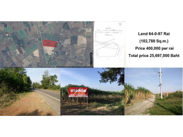 ขายด่วน ที่ดินบ่อพลอย จ.กาญจนบุรี เนื้อที่ : 64-0-97 ไร่ ติดถนนใหญ่ ทำเลสวย เจ้าของขายเอง