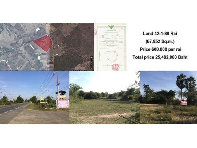 ขายด่วน ที่ดินบ่อพลอย กาญจนบุรี ที่ดิน 42-1-88 ไร่ ติดถนนใหญ่  เจ้าของขายเอง