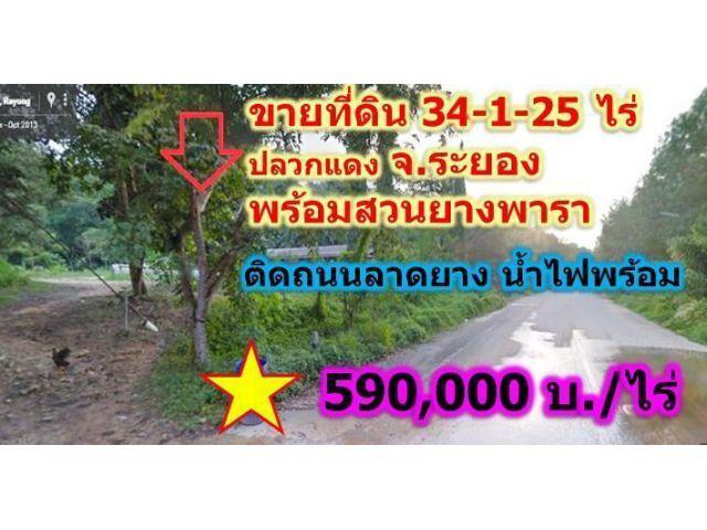 ขายที่ดินโฉนด+สวนยางพารา34ไร่ระยองติดถนน 590,000/ไร่