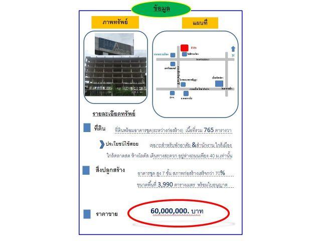 ที่ดินพร้อมอาคารชุด  7 ชั้น ก่อสร้างเสร็จ80% พร้อมใบอนุญาต ใกล้ตลาดรวมโชค/ มีโชค